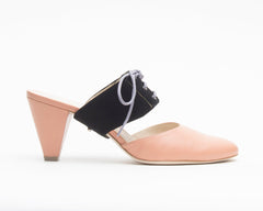 Blush Mule + Tilda in Black Suede