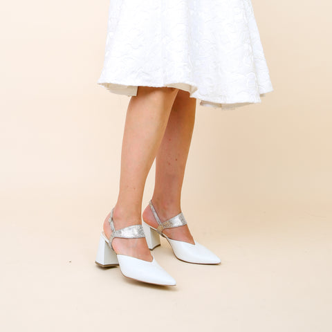 White Knee Length Dress with White V Mule and Metallic Broken Mirror Elsie   Alterre Shoes   Female Founded   Minority Owned