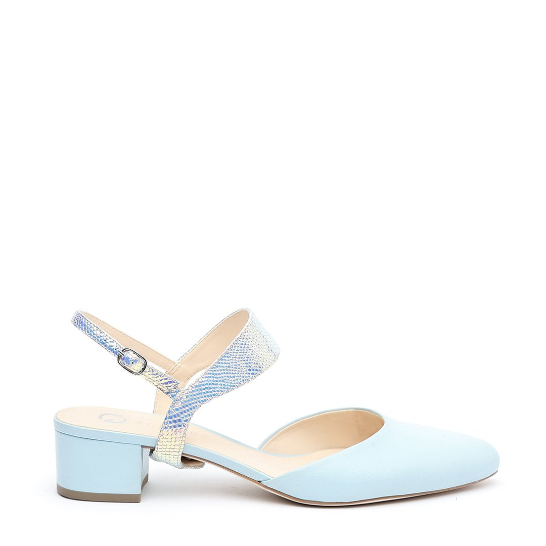 Agate Blue Slide + Opal Snake Elsie Strap Customizable Slides  | Alterre Interchangeable Slides - Sustainable Footwear & Ethical Shoes