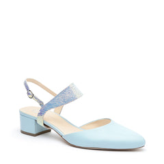 Agate Blue Slide + Opal Snake Elsie Strap Personalized Womens Shoes | Alterre Create Your Own Slide - Sustainable Footwear Brand & Ethical Shoe Company