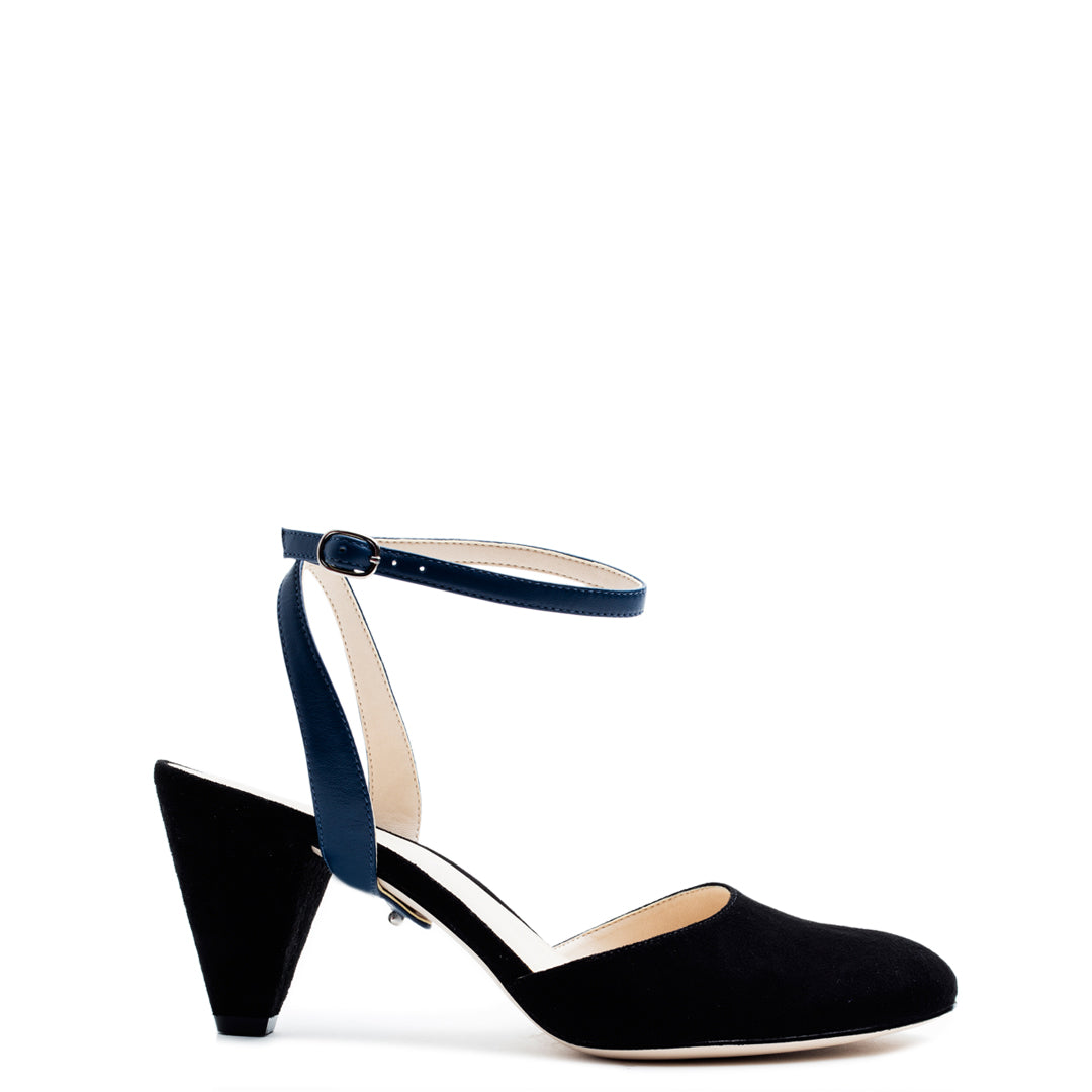 Black Suede Mule + Evening Sky Marilyn