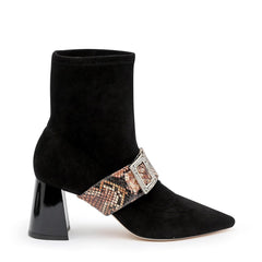 Black Suede Customizable Boot + Rosy Boa Grace Strap | Alterre Interchangeable Boots - Sustainable Footwear & Ethical Shoes