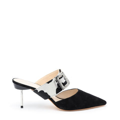 Black Suede Stiletto + Cow Grace Customized Stilettos | Alterre Interchangeable Stilletos - Sustainable Footwear & Ethical Shoes