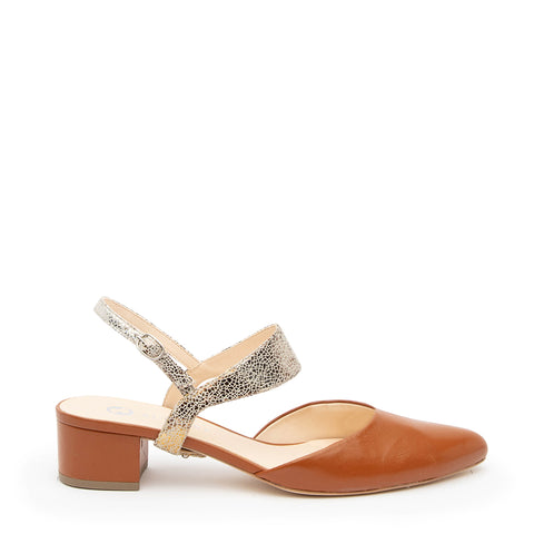Cognac Slide + Broken Mirror Elsie Customized Slide Sandals | Alterre Interchangeable Slides - Sustainable Footwear & Ethical Shoes