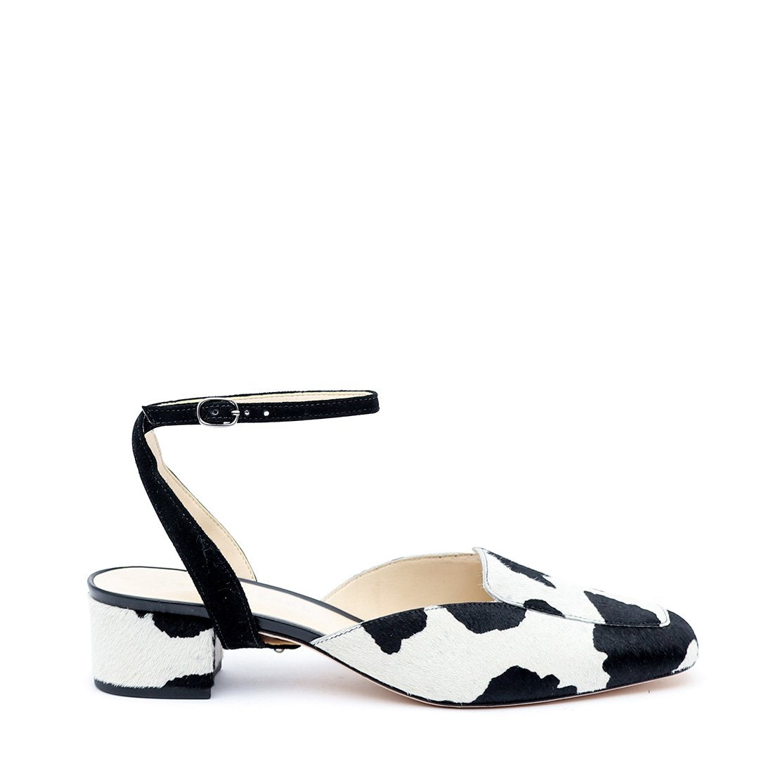 Cow Print Customized Loafer + Black Suede Marilyn Strap | Alterre Interchangeable Loafers - Sustainable Shoes & Ethical Footwear