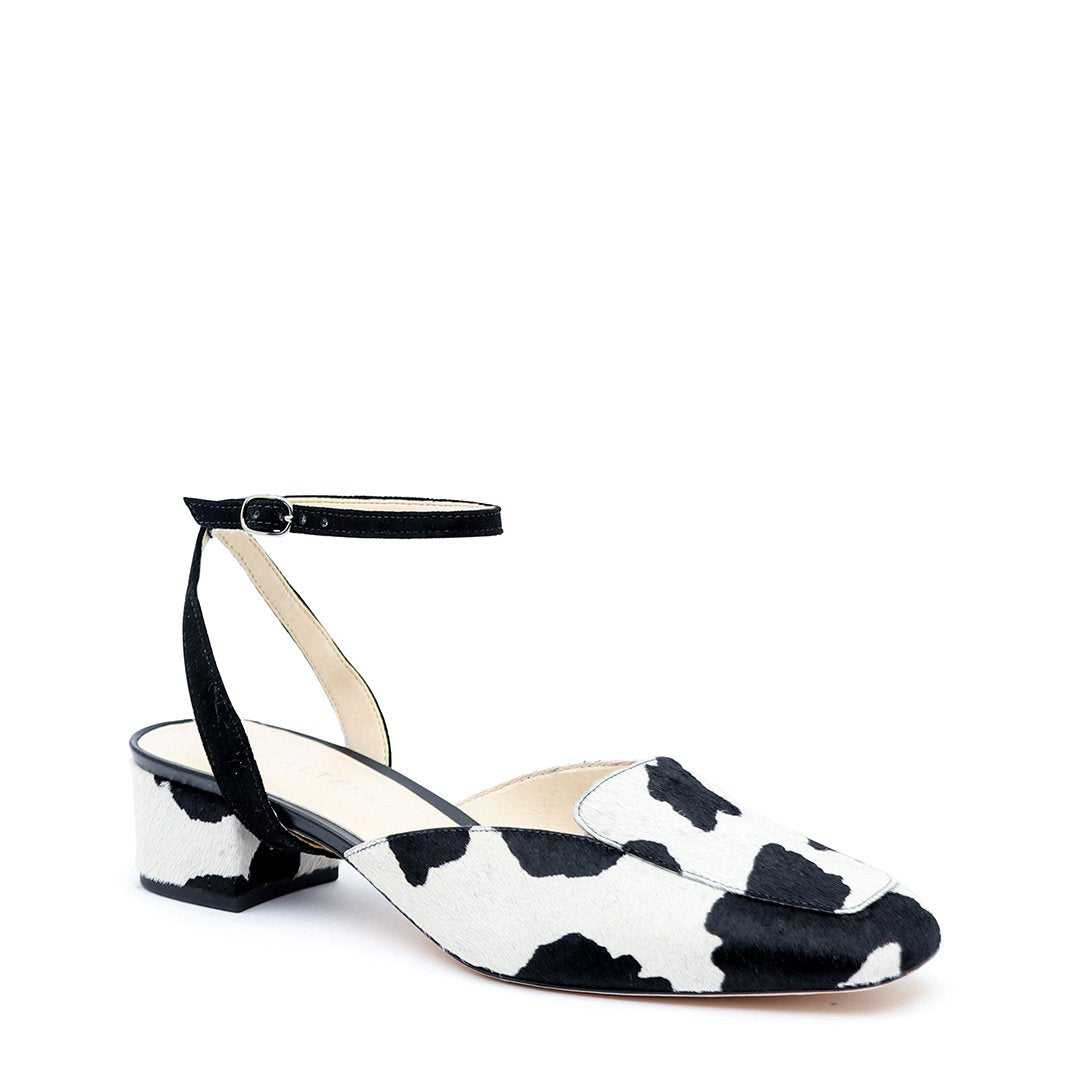 Cow Print Custom Loafer + Black Suede Marilyn Strap | Alterre Make A Shoe - Sustainable Footwear & Ethical Shoes