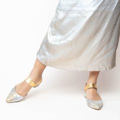 Broken Mirror Slide + Gold Elsie Slide Sandals with Interchangeable Straps | Alterre Build Your Own Shoe - Sustainable Shoe Company & Ethical Footwear Brand