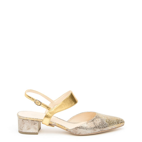 Elsie in Gold Custom Shoe Straps | Alterre Make A Shoe - Sustainable Shoes & Ethical Footwear