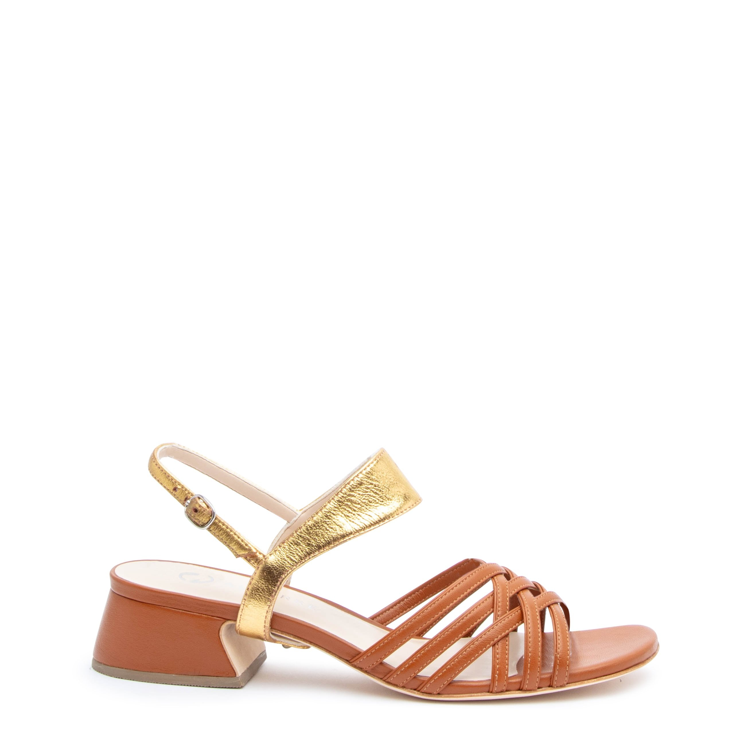 Cognac Bell Sandal + Gold Elsie Customized Sandals | Alterre Interchangeable Sandals - Sustainable Footwear & Ethical Shoes
