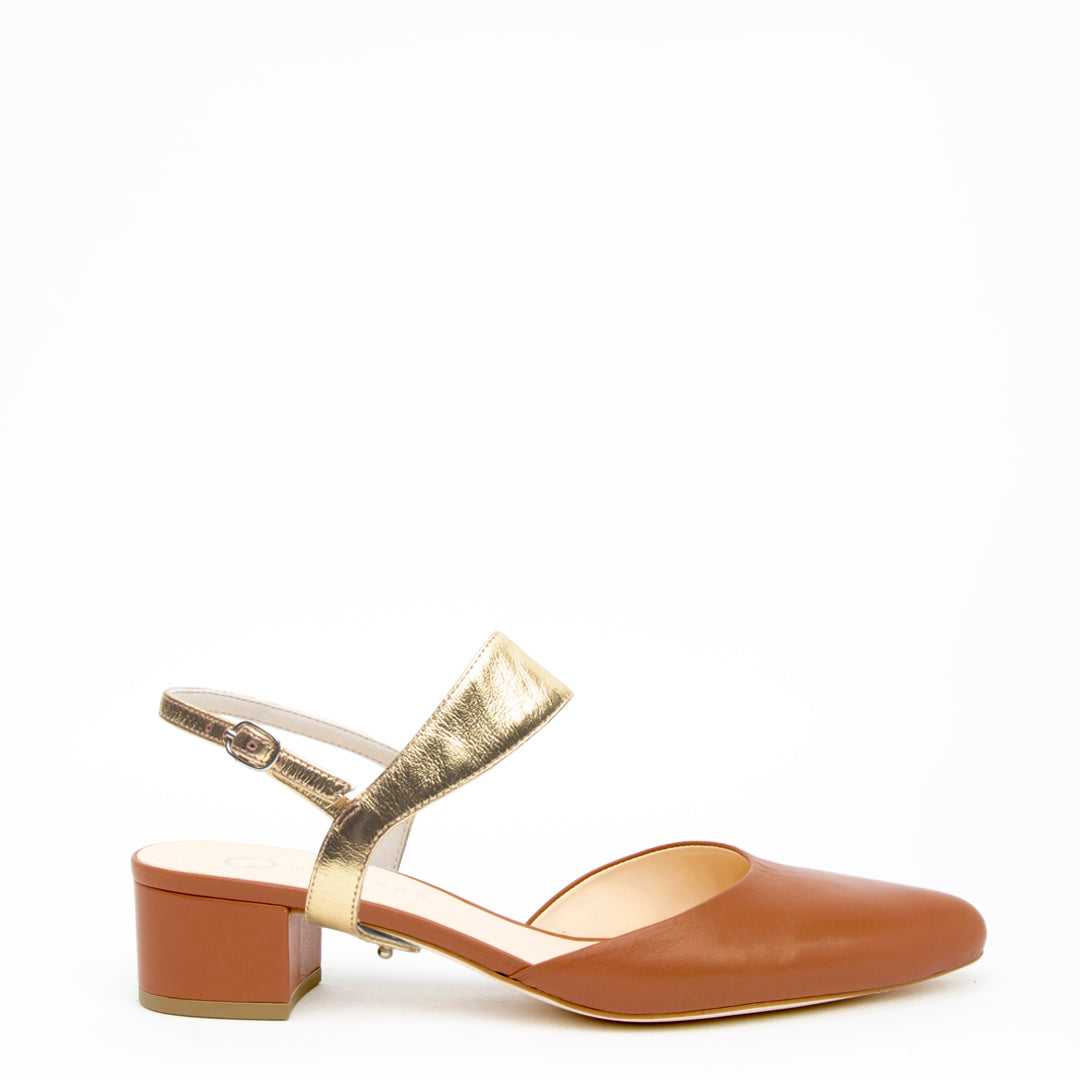 Cognac Slide + Gold Elsie Customized Slide Sandals | Alterre Interchangeable Slides - Sustainable Footwear & Ethical Shoes