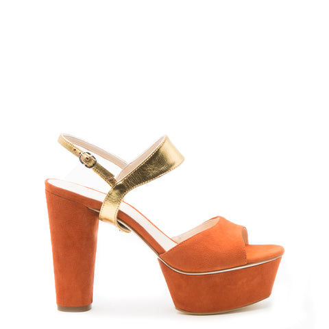 Orange Suede Platform Custom Shoe Bases | Alterre Make A Shoe - Sustainable Shoes & Ethical Footwear