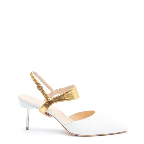 White Stiletto + Gold Elsie Customized Stilettos | Alterre Interchangeable Stilletos - Sustainable Footwear & Ethical Shoes