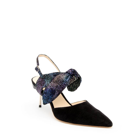 Black Suede Stiletto + Cosmic Splatter Erykah Custom Stilettos | Alterre Make A Shoe - Sustainable Shoes & Ethical Footwear
