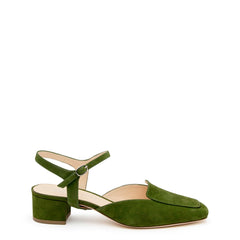 Jackie in Moss Custom Shoe Straps | Alterre Make A Shoe - Sustainable Shoes & Ethical Footwear