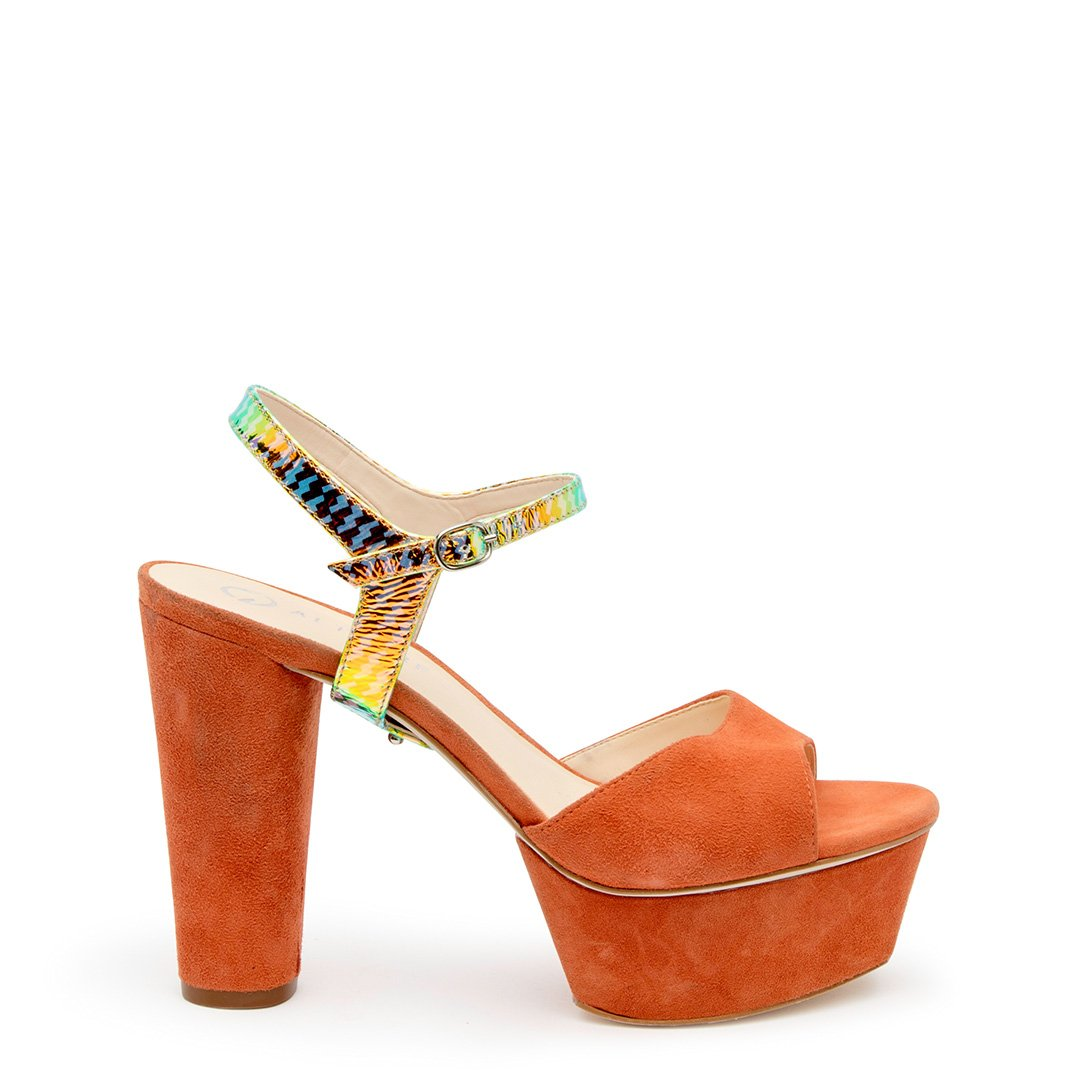 Orange Suede Platform + Solar Flare Jackie Customized Platforms | Alterre Interchangeable Platforms - Sustainable Footwear & Ethical Shoes