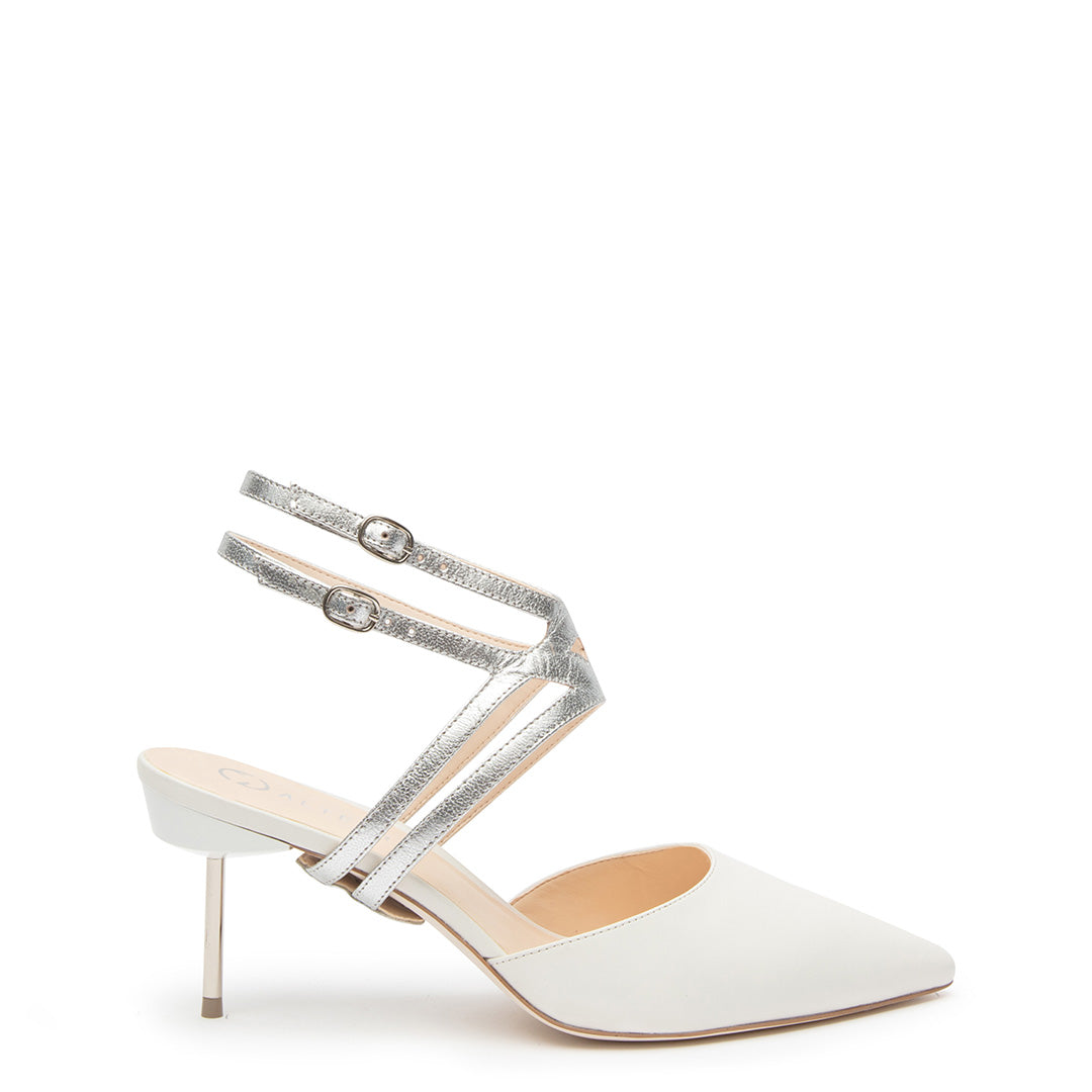 White Stiletto + Silver Lozen Customized Stilettos | Alterre Interchangeable Stilletos - Sustainable Footwear & Ethical Shoes