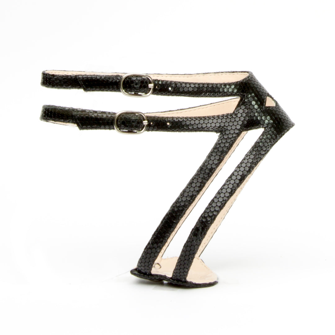 Lozen in Rattlesnake Black Customized Shoe Straps | Alterre Interchangeable Shoes - Sustainable Footwear & Ethical Shoes