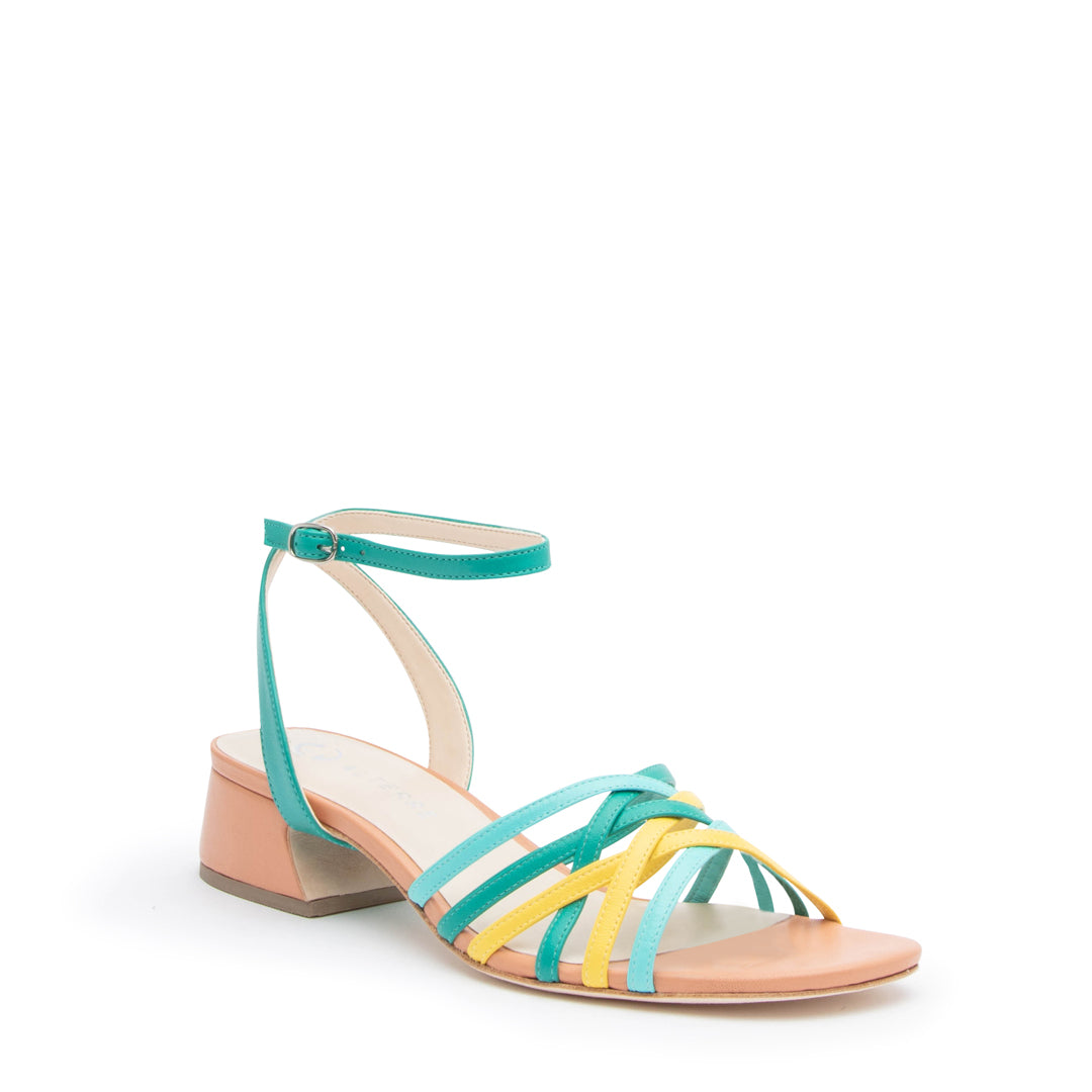 Blush Multi Bell Sandal + Teal Marilyn Custom Sandals | Alterre Make A Shoe - Sustainable Shoes & Ethical Footwear