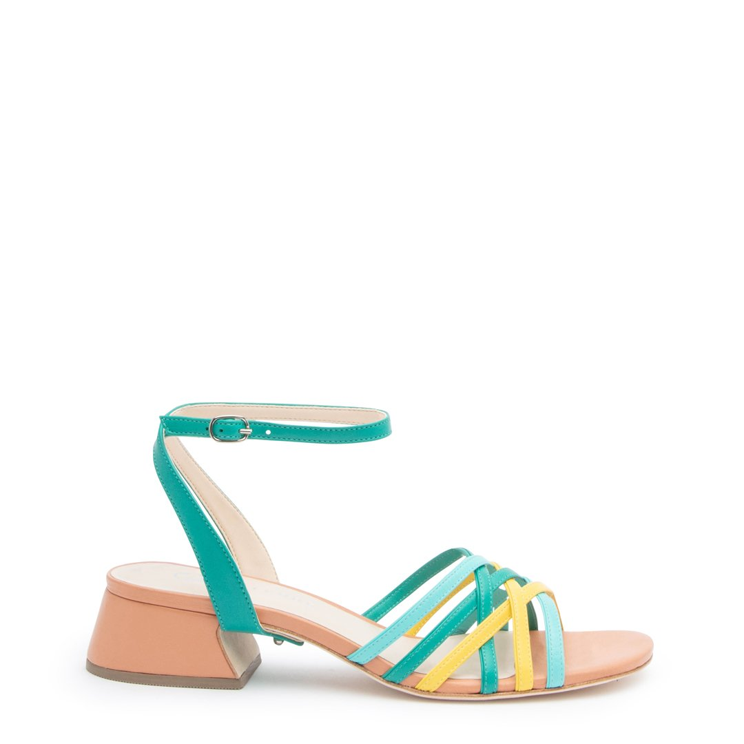 Blush Multi Bell Sandal + Teal Marilyn Customized Sandals | Alterre Interchangeable Sandals - Sustainable Footwear & Ethical Shoes