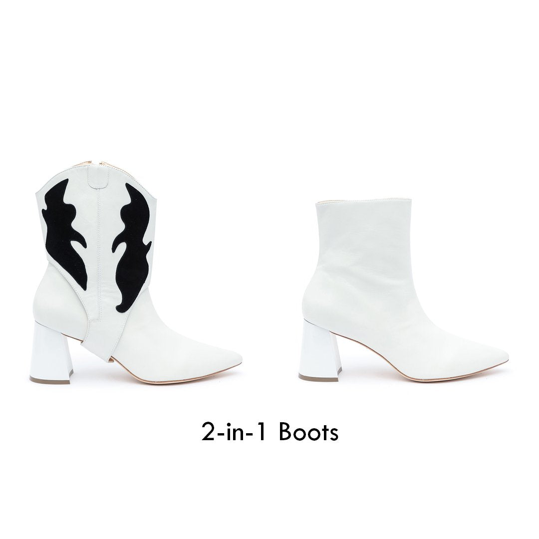 White/Black Customizable Womens Boots | Alterre 2-in1 Boots - Sustainable Footwear Company & Ethical Shoe Brand