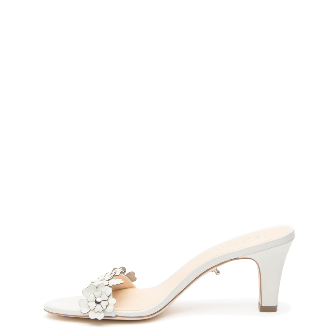 White Floral Open Toe Personalized Open Toe Heels | Alterre Create Your Own Shoe - Sustainable Shoe Brand & Ethical Footwear Company