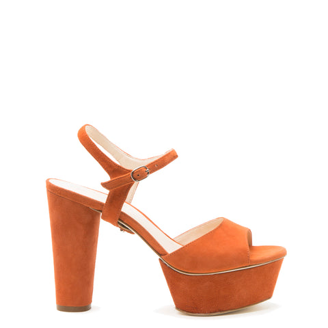 Jackie in Orange Suede Custom Shoe Straps | Alterre Make A Shoe - Sustainable Shoes & Ethical Footwear