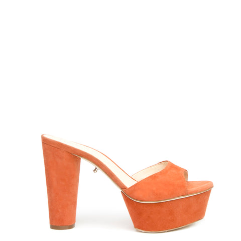 Orange Suede Platform Customized Shoe Bases | Alterre Interchangeable Shoes - Sustainable Footwear & Ethical Shoes