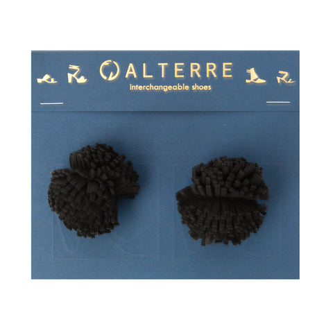 Black Suede Pom Pom Customized Shoe Accessories | Alterre Interchangeable Shoes - Sustainable Footwear & Ethical Shoes