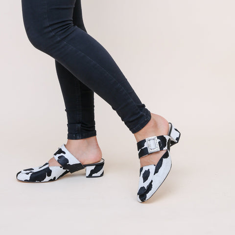 Grace in Cow Print Custom Shoe Straps | Alterre Make A Shoe - Sustainable Shoes & Ethical Footwear