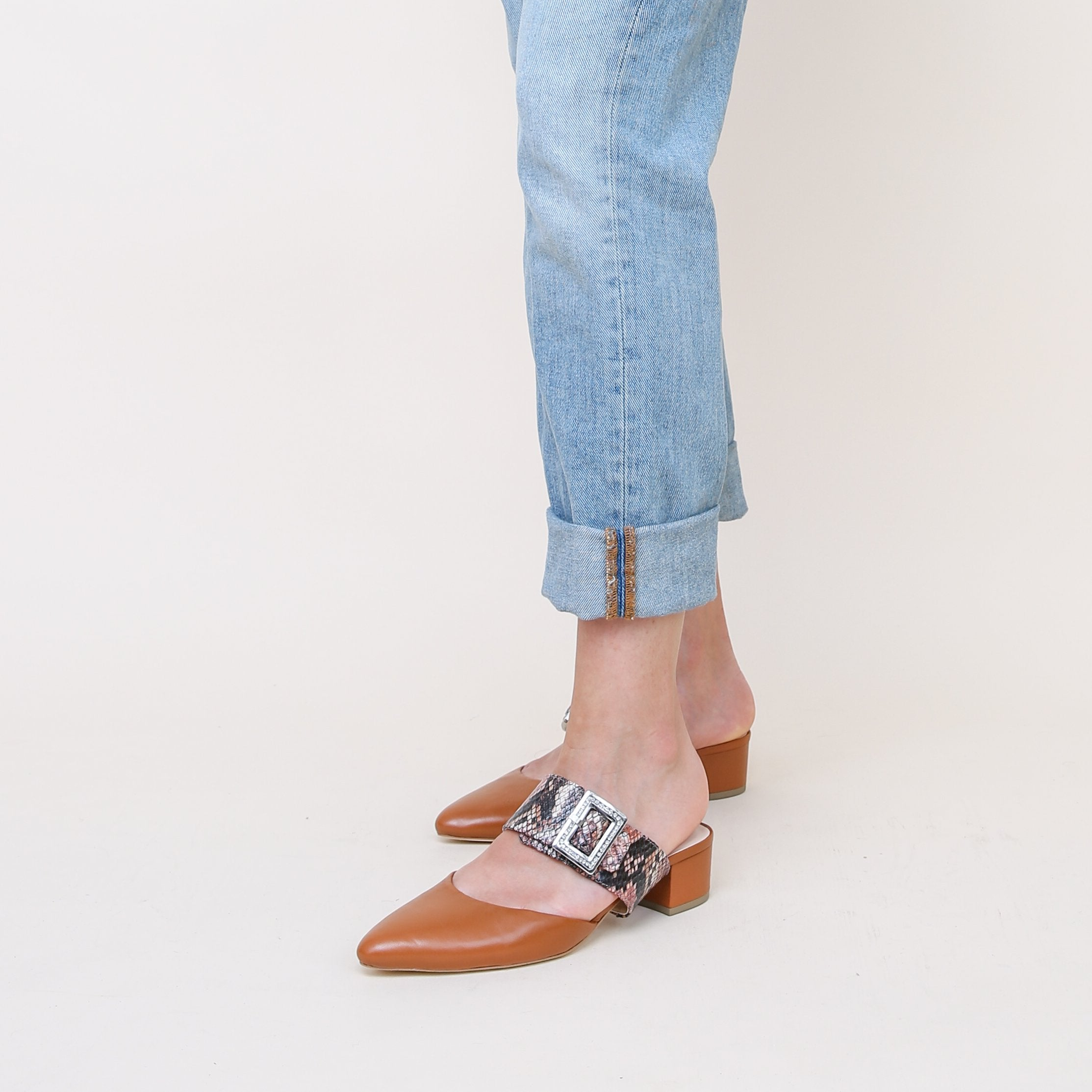Cognac Slide + Rosy Boa Grace Personalized Womens Shoes | Alterre Create Your Own Slide - Sustainable Footwear Brand & Ethical Shoe Company