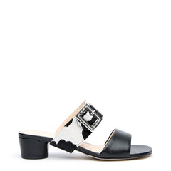 Black Customized Sandals + Cow Grace Strap | Alterre Interchangeable Sandals - Sustainable Footwear & Ethical Shoes