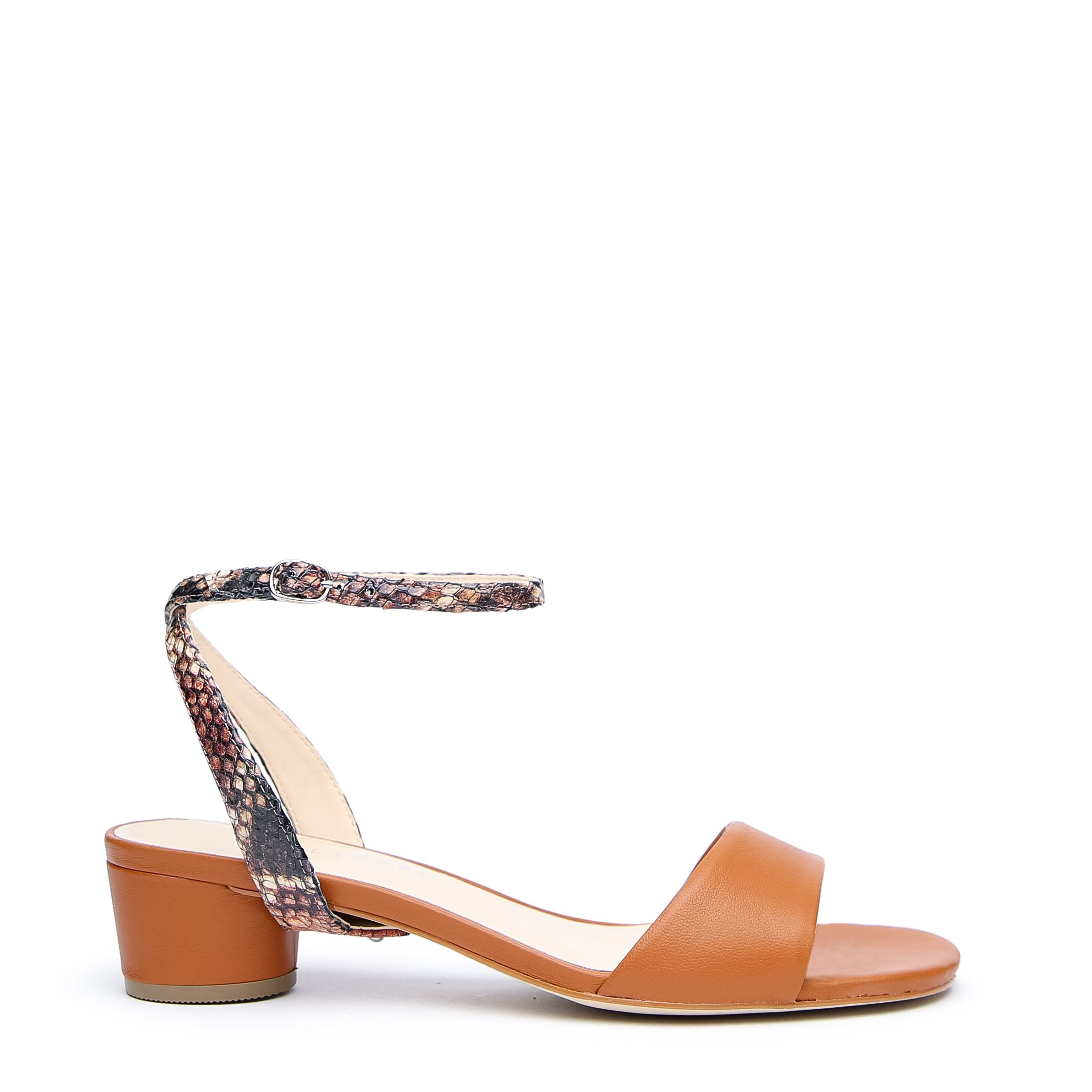 Brown Customized Sandals + Rosy Boa Marilyn Strap | Alterre Interchangeable Sandals - Sustainable Footwear & Ethical Shoes