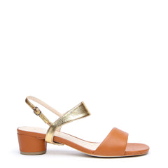 Brown Customized Sandals + Gold Elsie Strap | Alterre Interchangeable Sandals - Sustainable Footwear & Ethical Shoes