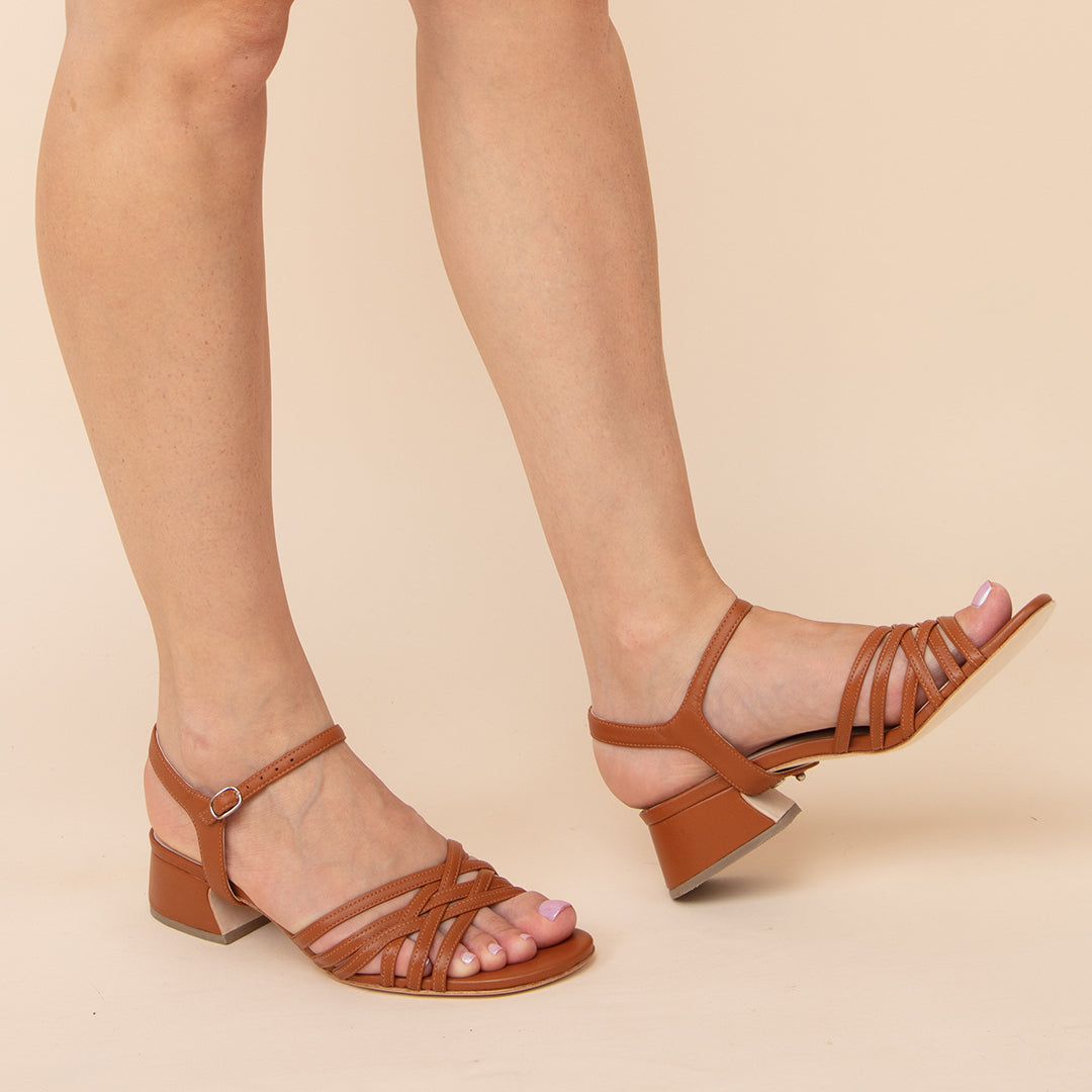 Cognac Bell Sandal + Jackie Custom Sandals | Alterre Make A Shoe - Sustainable Shoes & Ethical Footwear