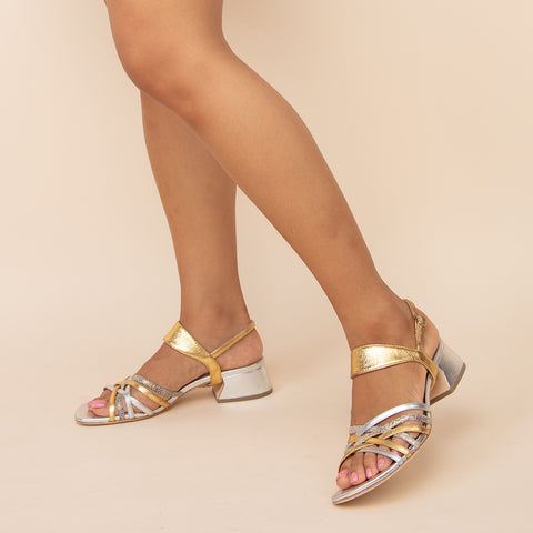 Silver Bell Sandal + Gold Elsie Custom Sandals | Alterre Make A Shoe - Sustainable Shoes & Ethical Footwear