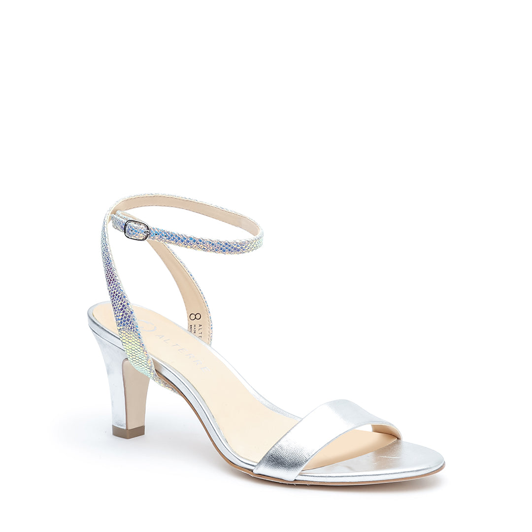 Silver Open Toe + Opal Snake Marilyn Custom Open Toe Heels | Alterre Make A Shoe - Sustainable Shoes & Ethical Footwear