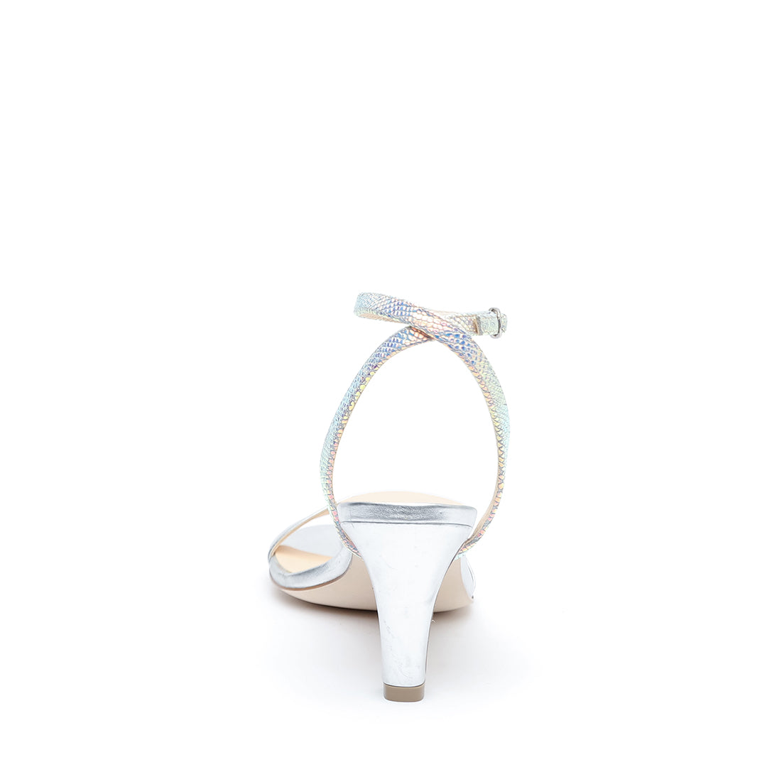 Silver Open Toe + Opal Snake Marilyn  Open Toe Heels | Alterre Customizable Evening Mid-Heels - Ethical Shoes & Sustainable Footwear