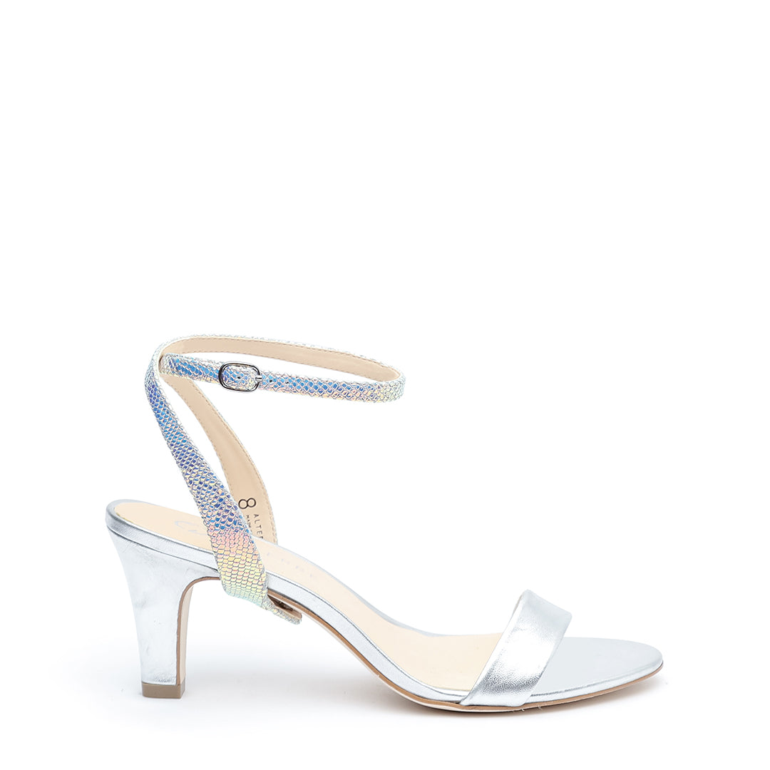 Silver Open Toe + Opal Snake Marilyn Customized Open Toe Heels | Alterre Interchangeable Open Toe Heels - Sustainable Footwear & Ethical Shoes
