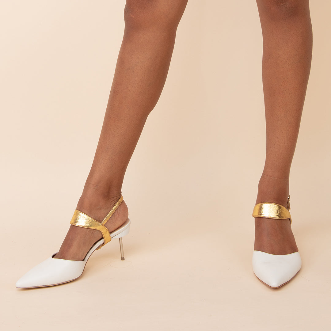 White Stiletto + Gold Elsie Custom Stilettos | Alterre Make A Shoe - Sustainable Shoes & Ethical Footwear