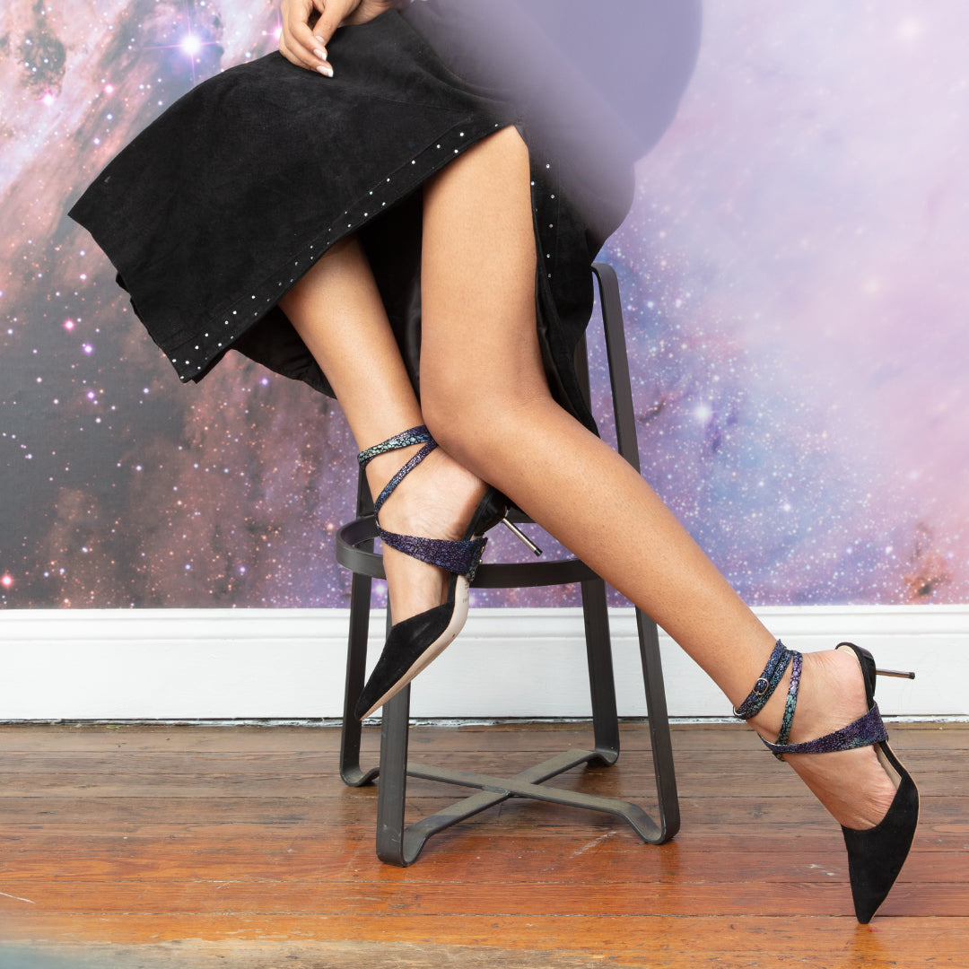 Black Suede Stiletto + Cosmic Splatter Tomoe Personalized Stilettos | Alterre Create Your Own Shoe - Sustainable Shoe Brand & Ethical Footwear Company