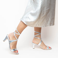 Silver Open Toe Heel Shoe Bases with Changeable Tops | Alterre Make Your Own Shoes - Sustainable Shoes & Ethically-Made Shoes