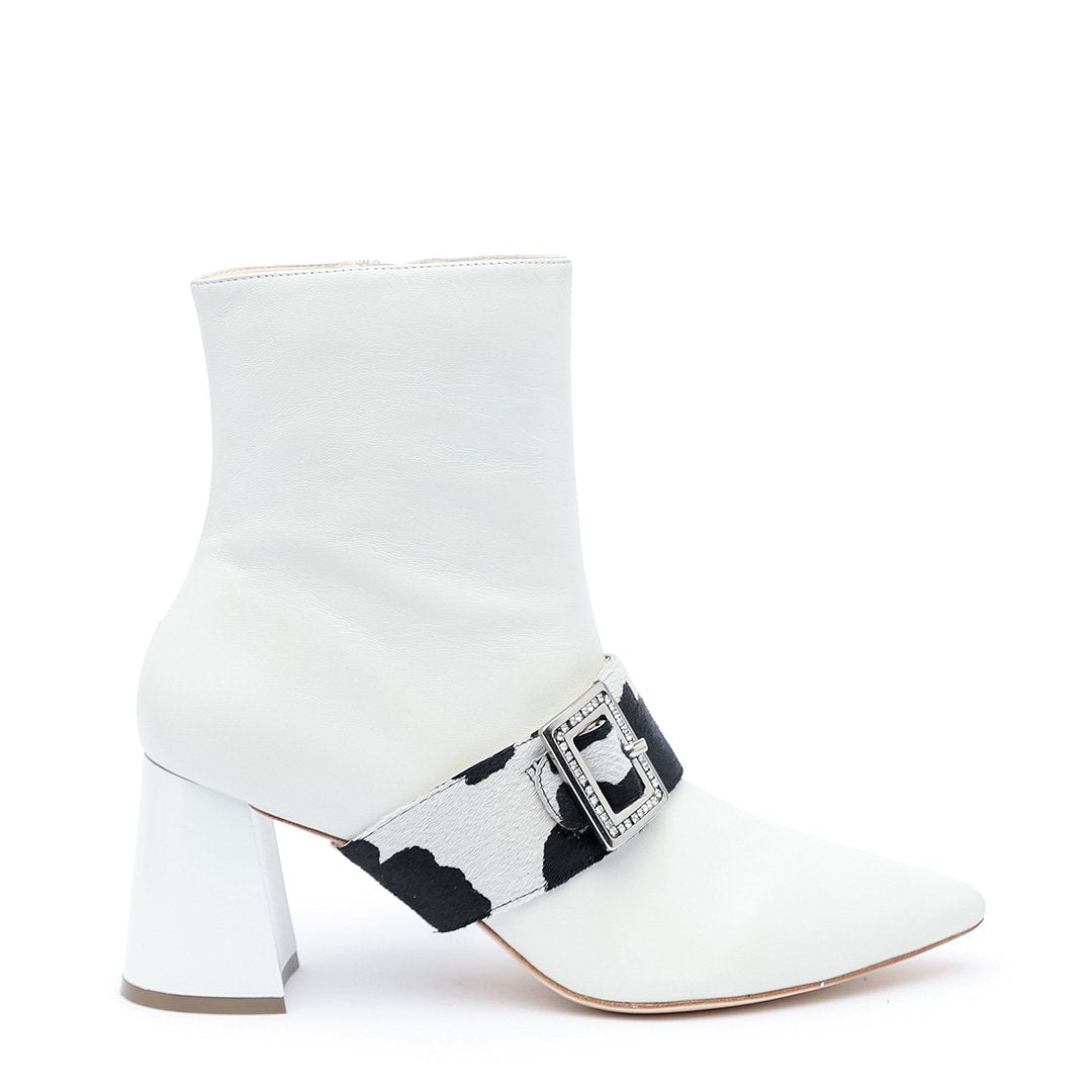 White Customizable Boot + Cow Grace 2-in-1 Shoes  | Alterre Interchangeable Boots - Sustainable Footwear & Ethical Shoes