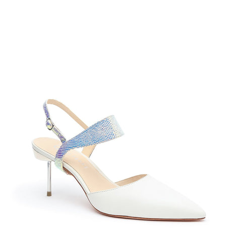 White Stilettos + Opal Snake Elsie Customizable Strap | Alterre Make A Stiletto - Sustainable Shoes & Ethical Footwear