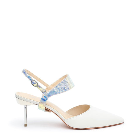 White Stiletto + Opal Snake Elsie Customizable Strap  | Alterre Interchangeable Stilettos - Sustainable Footwear & Ethical Shoes