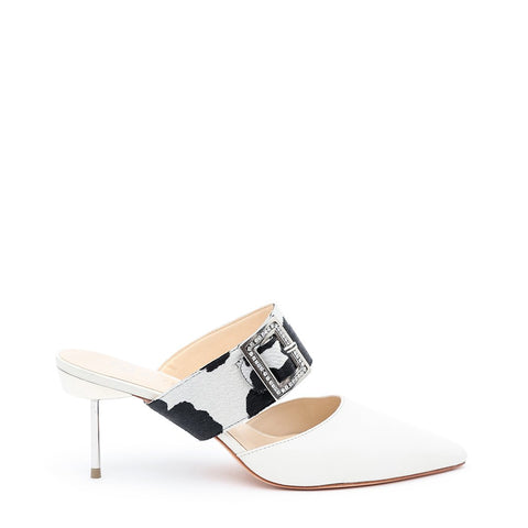 White Stiletto + Cow Grace Customizable Strap  | Alterre Interchangeable Stilettos - Sustainable Footwear & Ethical Shoes