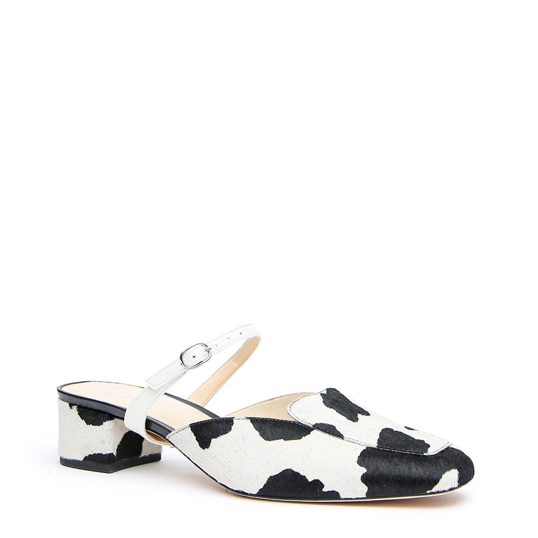 Personalized Cow Print Loafer + White Twiggy Strap | Alterre Make A Slide - Sustainable Footwear & Ethical Shoes