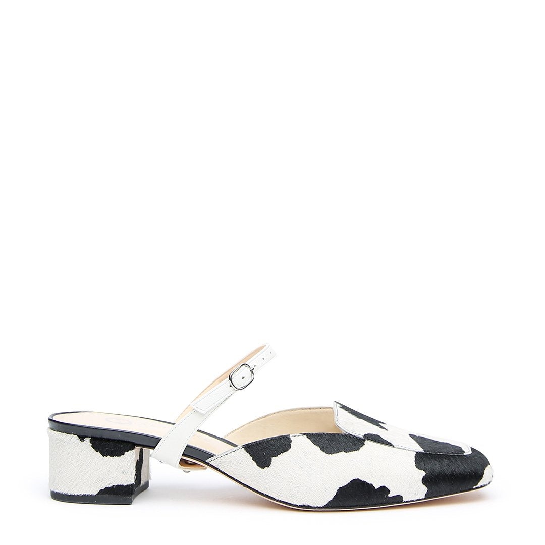 Cow Print Customized Loafer + White Twiggy Strap | Alterre Interchangeable Slides - Sustainable Shoes & Ethical Footwear
