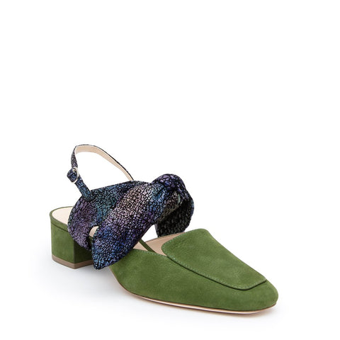 Moss Loafer + Cosmic Splatter Erykah Customizable Womens Slides | Alterre Interchangeable Slides - Ethical Footwear & Sustiainable Shoes