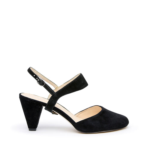 Black Suede Mule + Elsie Customized Mid-Heel Mules | Alterre Interchangeable Mules - Sustainable Footwear & Ethical Shoes
