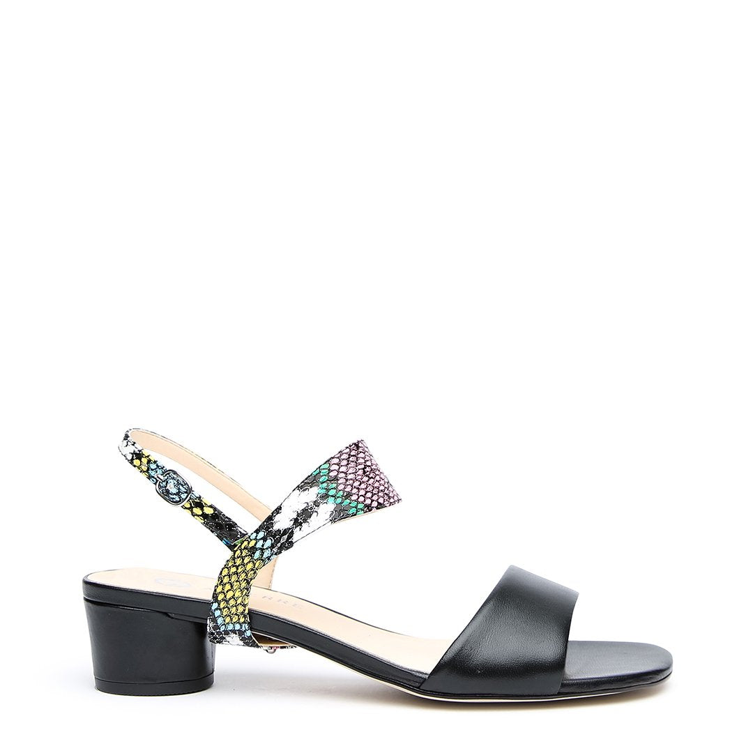 Black Customizable Sandal + Acid Snake Elsie Strap | Alterre Interchangeable Shoes - Sustainable Footwear & Ethical Shoes